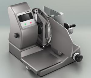 Ruční vertikální nářezový stroj Bizerba VS12 W s integrovanou váhou.