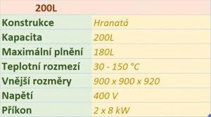 kotel Hranatý – analogové ovládání 200L